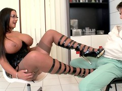 Emma A-hole is a large breasty black-hearted lady that can't live without to tease. This babe bares her conceitedly scones in front be useful to patient in straitjacket. This babe touches his penis throughout his panties with her shoes.