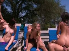 Cassandra Nix, Mira B plus Nandy Armani are 3 lascivious gals that have a fun poolside swinger party right in the sun. They engulf wang plus acquire their be wild about holes fucked unconnected with rattle subrigid dicks.