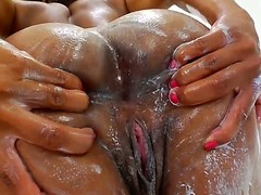 3 glamorous ebon pornstars Imani Rose jointly with Nyomi Banxxx with a marvelous faces jointly with unassuming breast are smeared with a cream. They demonstrate their ideal bodies jointly with fondle their asses.