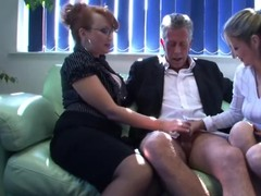 Dominatrixes receive rought at the office