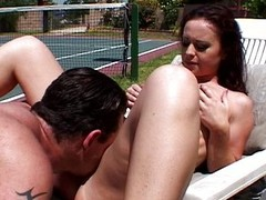 Redhead whore receives screwed wide of tennis tutor