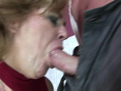 Erotic golden-haired mature lass bringing off with himself