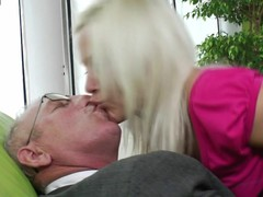 Slutty young golden-haired sucking and having it away old man
