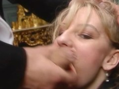 Luxurious golden-haired wench sucks locate and receives fingered