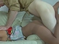 Toper golden-haired falls asleep and acquires dicked thru will not hear of control top pantyhose