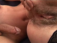 Aged shaggy stepmom helping younger pecker