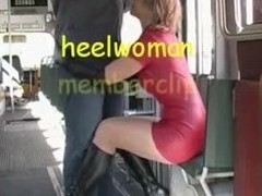 Sexy older wife in latex with an increment of high heels boots sucks 10-Pounder in tram.