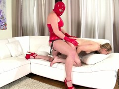 Nasty festival thrall is leashed added to analized hard by say no to dominatrix wearing a strap-on
