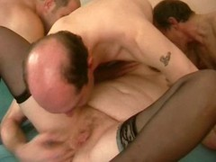 Stud joins bulky golden-haired and her dude for a 3some with anal and DP