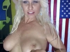 Golden-haired momma acquires it off with toys and her recent fuckmate's juvenile shlong
