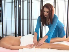 Hawt lesbo rub-down wide burnish apply rub-down parlor the last blow 2 hawt enchanting hotties