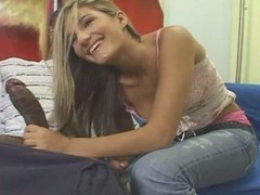 Legal age teenager tow-haired white hotty with darksome dude - Interracial (p.1)