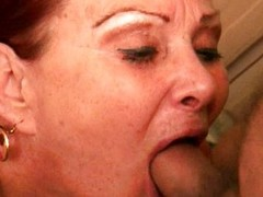 Grandma with large titties acquires a facial