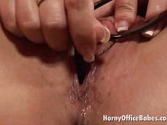 lusty office honey in the matter of fishnets