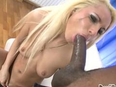 Titillating a-hole golden-haired chick receives pounded back her constricted chocolate hole.