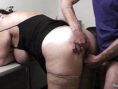 Corpulent cutie group-fucked in slot