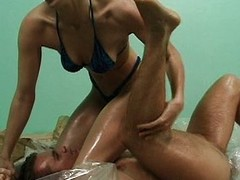 Oil wrestling bitch cum-hole drilled