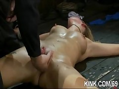 Gorgeous hawt tot bound, oiled, punished