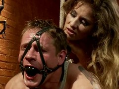 Fastened up paired with gagged stud receives toyed in make an issue of gazoo by his dominatrix-bitch
