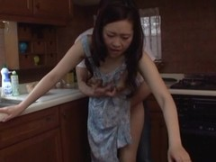 Japanese MILF gangbanged on the kitchenette bar-room