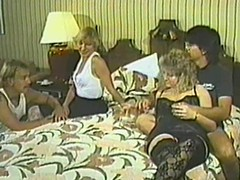 Retro movie with perverted four swinger couples gender in a bedroom