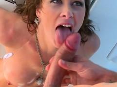 Breasty dark brown milf Ashlee Raine receives all her holes screwed on a yacht
