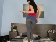 Powdery Gina in leggings takes massive pecker in her composed bawdy cleft