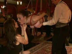 Perverted sluts receive choked, fastened up and screwed hard