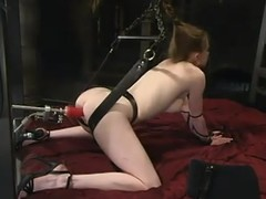 Mini golden-haired gong Nicole Scott receives stripped for a fucking machine