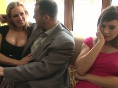 Tanya Tate and Abbie Make joy of share James Brossman's pecker indoors
