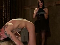 Bobbi Starr is having a full access around her slave's upper case weenie
