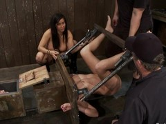2 sexy angels receive toyed and whipped hard by their female-dominator