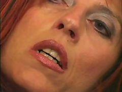 Skinny older whore acquires cum on her face