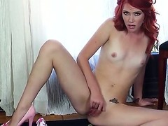 Lewd skinny redhead Elle Alexandra groans during the time that playing with say no to bald jointly with pierced scruffy slit