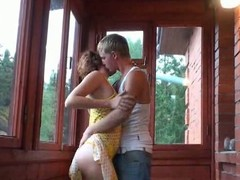 Russian legal age teenager pair balcony play