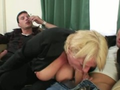 Drunk blond aged receives pounded by duet males