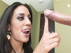 Lyla Storm nearly drowns on a scores of cum mesh engulfing rod