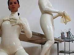 Yoke sexy amateurs angel acquiring aberrant in white latex