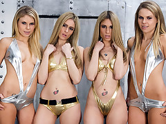 Two twin couples love giving a horny lesbo show