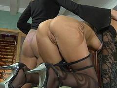 2 lezzies in nylon tights go for being tongue giving a hug and clam-diving